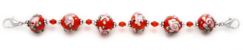 Designer Bead Medical Bracelets Pink Rose at Sunset II 1202