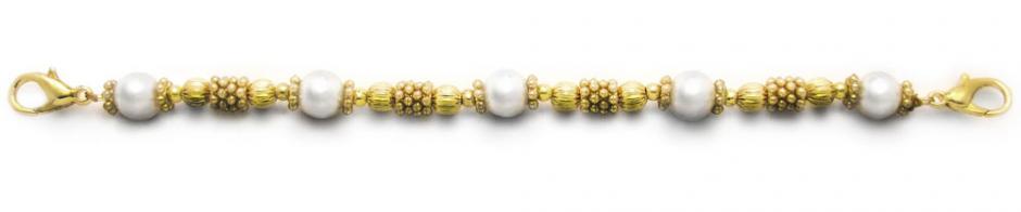 Designer Bead Medical Bracelets Golden Pearl 1286