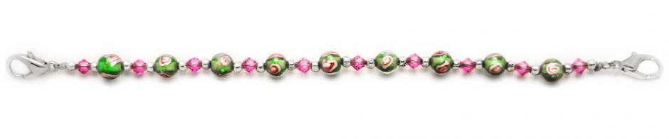 Designer Bead Medical Bracelets Pink Rose in Green II 1373