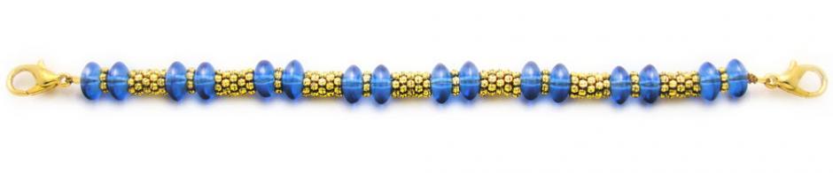Medical ID Bracelet 1376 Blue Blast in Gold by Artist Abbe Sennett