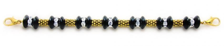 Designer Bead Medical Bracelets Onyx Golden Rope 1377
