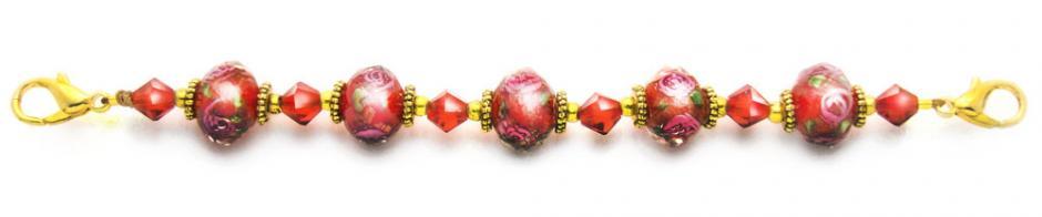 Designer Bead Medical Bracelets Rose Blossoms in Red 1379