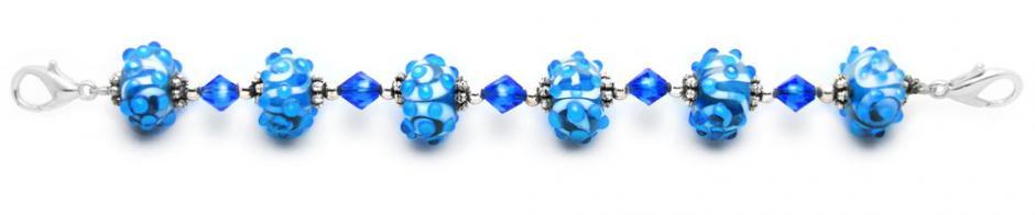 Designer Bead Medical Bracelets Mediterranean Blue 1441