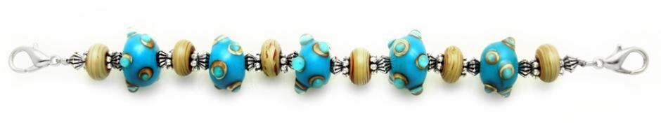 Designer Bead Medical Bracelets Bumpy Blue 1442