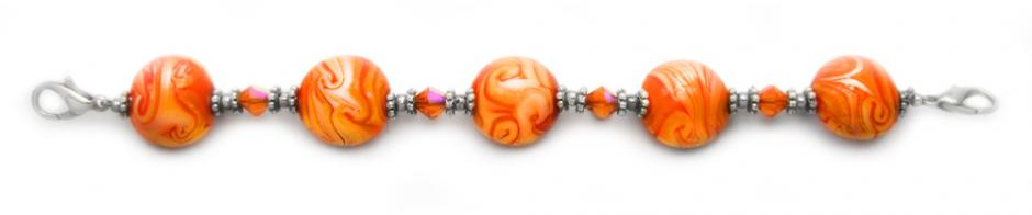 Designer Bead Medical Bracelets Orange Rush 1794