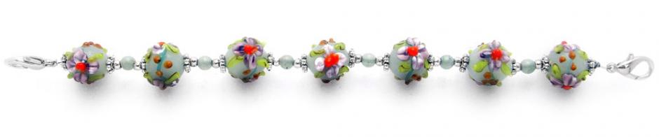 Designer Bead Medical Bracelets Flowers for a Lady 1870