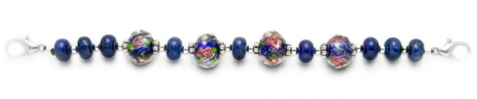 Designer Bead Medical Bracelets Roses in the Blue Meadow 1908