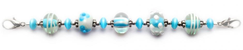 Beaded Medical Bracelets Aqua Blue, White and Beautiful 9013