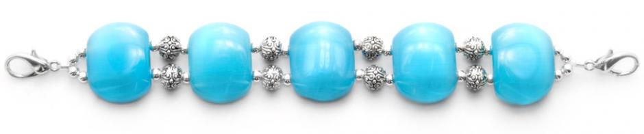 Designer Bead Medical Bracelets Bubbles in Aqua Blue Cats-Eye 9014