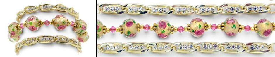 Designer Gold Medical Bracelet Set of 3 Hope Springs Pink Tri-Set 0881
