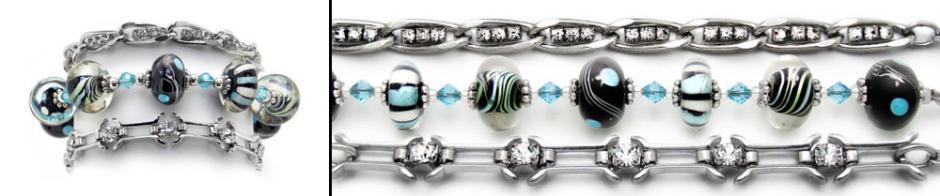 Designer Medical Bracelet Set Funky Blues 0850-S